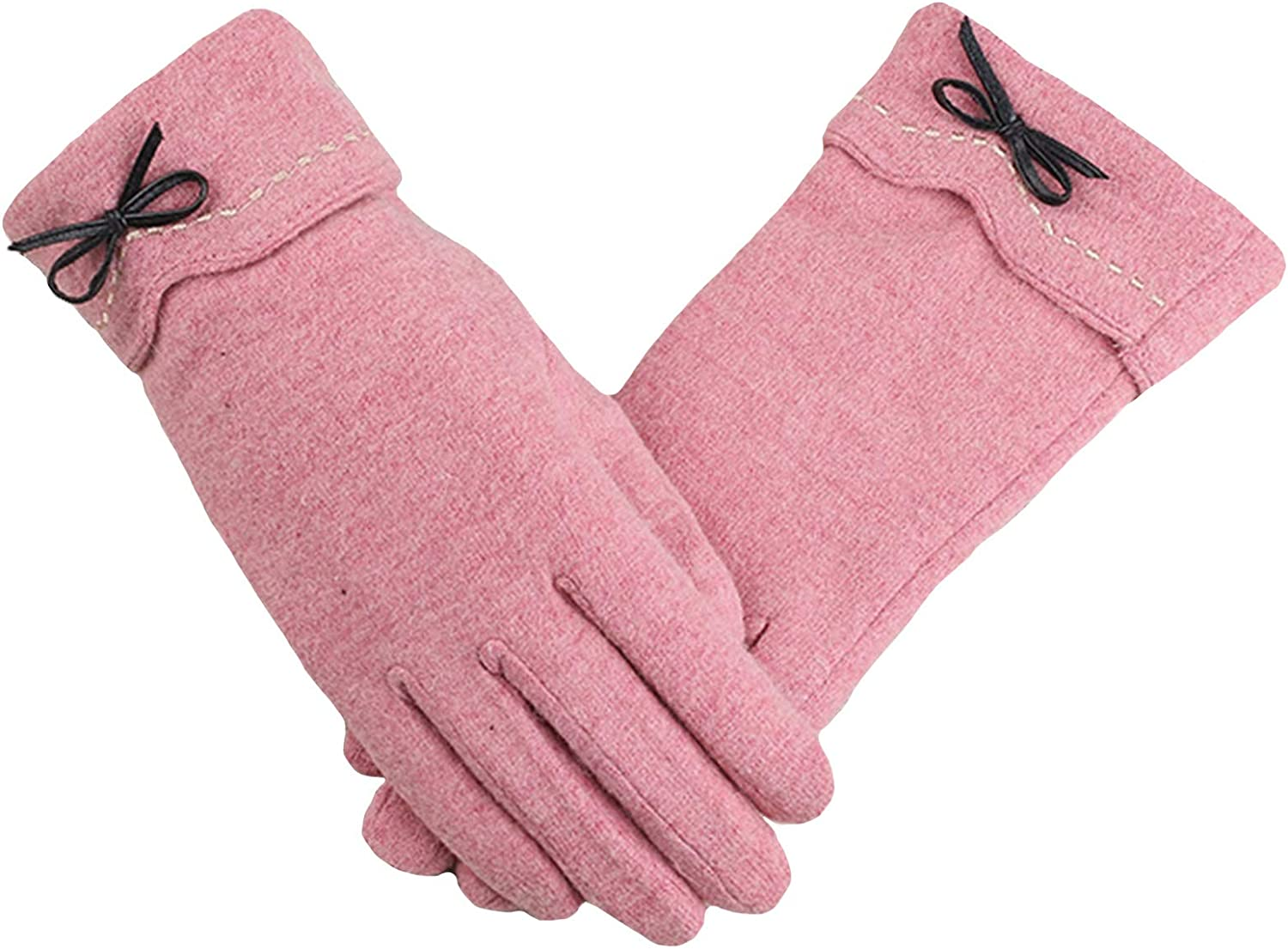 ZHANGYAN Gloves Winter Ladies Fashion Gloves Student Cute Plus Velvet Thick Warm Gloves Driving Touch Screen Gloves (Color : Pink)