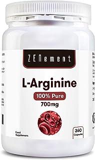 L-Arginina 100% Pura. 700 mg. 360 Cápsulas | Vasodilatador. favorece el rendimiento atlético y el