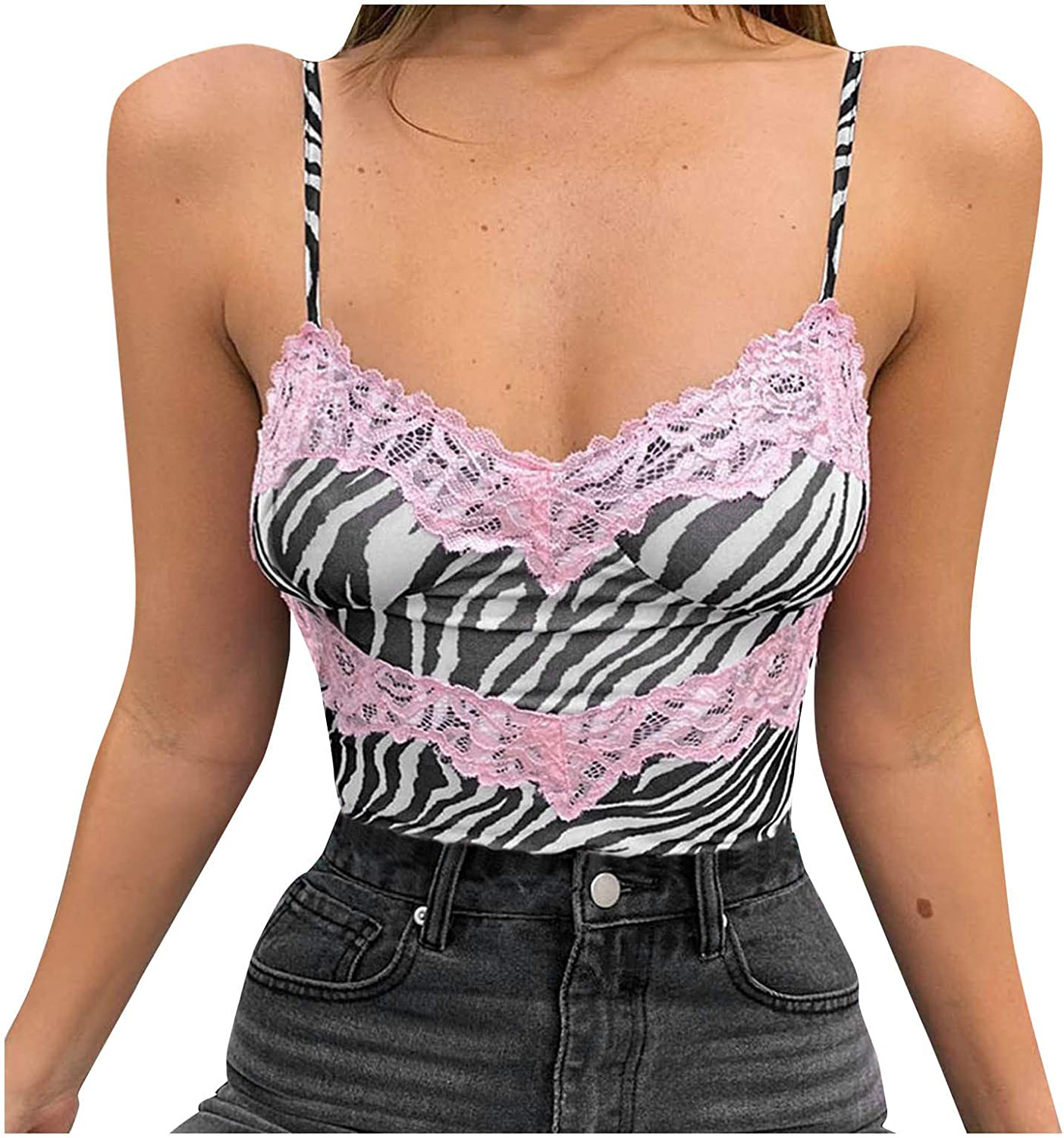 Women Crop Tops, Y2K Fashion Tops Lace Trim Sexy Sleeveless Tank Tops Cute Club Vest Summer Streetwear Backless Cami Top