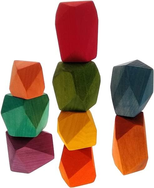 手工木制平衡块彩色手工木制 Tumi ISHI 9 Pc 儿童教育或装饰