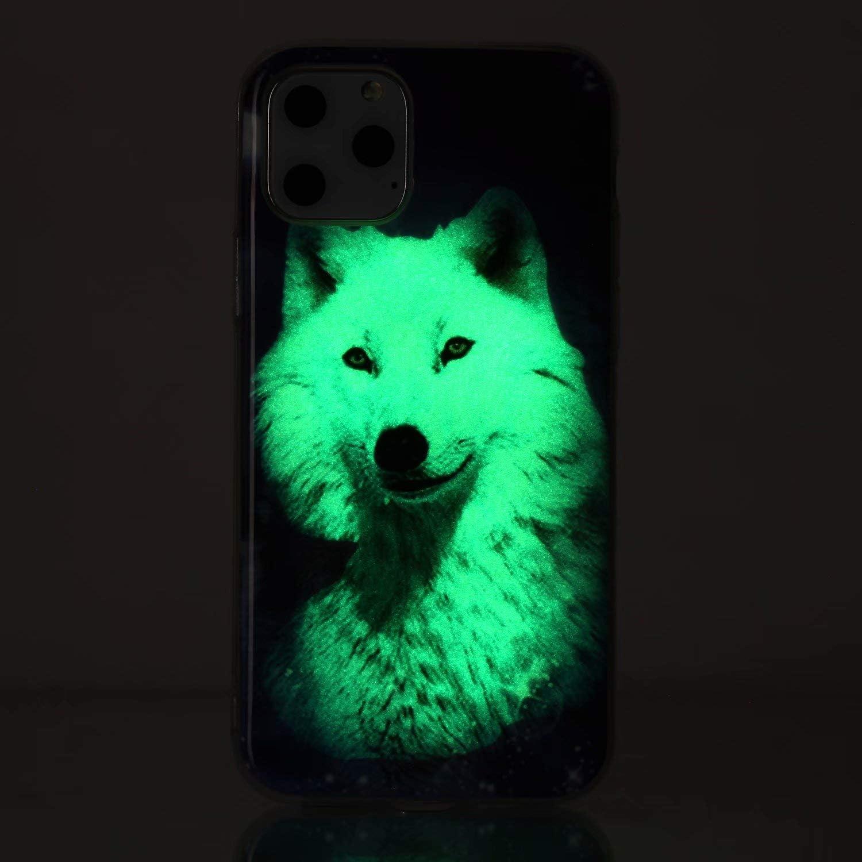 Nadoli Custodia Luminoso per Xiaomi Redmi Note 8 Pro,Blu Farfalla Disegno Morbido Sottile Fluorescente Glow Luminosa Antiurto Flessibile Silicone Protettiva Cover