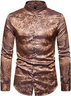 Gocgt Men's Luxury Prom Dress Shirt Casual Long Sleeve Satin Wrinkle Free Button Down Tops