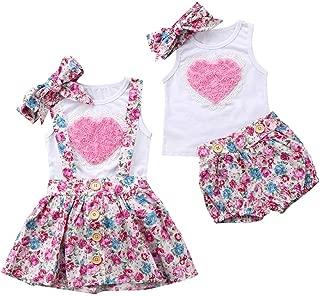 Baby Girls Big Little Sister Matching Heart Vest + Headband + Floral Suspender Skirt Summer Outfits
