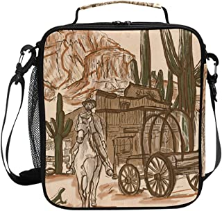 ADONINELP Lunch Bag Square Hand Drawn Vector Sheriff Wild West 3D Printed Picnic Bag Insulated Cooler Tote Box Meal Holder Containers Lunchbox Case