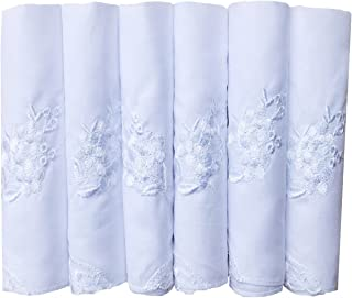 COCOUSM Womens Embroidered Cotton Lace Handkerchiefs Pack Bulk