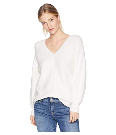 1.STATE V-Neck Bubble Sleeve Sweater (Antique White) Women