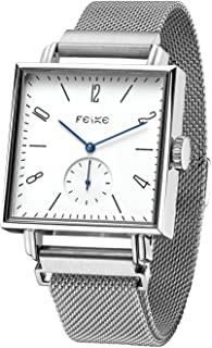 FEICE Unisex Square Watch Men's Bauhaus Automatic Watch Mechanical Watches Analog Wristwatch -Sapphire Mirror -34mm Case (FM301)