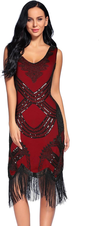 Women's 1920s Gatsby Dress V Neck Sequin Beads Fringed Cocktail Hem Flapper Dress (S, Red)