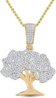 FB جواهر الذهب الأصفر عيار 14 قيراط رجل جولة الماس شجرة المال سحر قلادة 7/8 Cttw (الحجر الأساسي: I2 وضوح؛ G-H اللون)