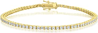 Kezef Glamorous Bridal CZ Tennis Bracelet in White, Yellow or Rose Plated - 6 to 8 inch wrists