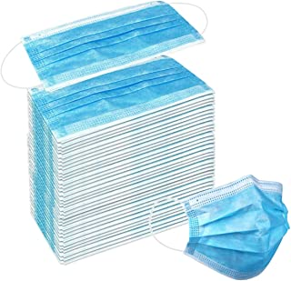 50 Pack Disposable Face Masks with Elastic Ear Loop, 3 Ply Breathable and Comfortable for Blocking Dust Air Pollution Dust...
