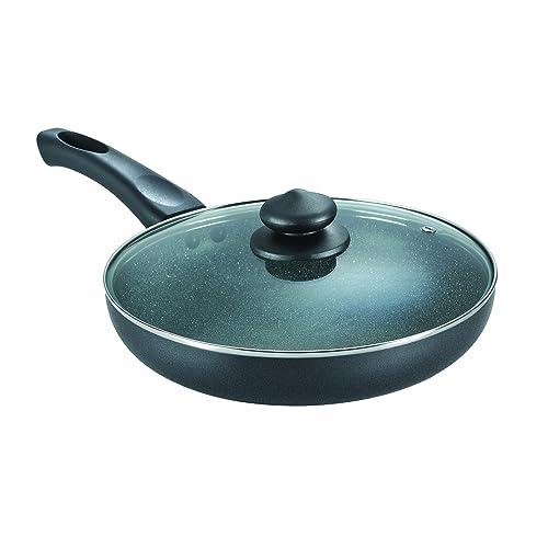 Prestige Omega Deluxe Granite Fry Pan with Lid, 260mm,Black
