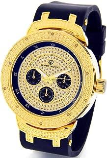 Mens Super Techno Diamond Watch Genuine Diamond Watch Oversized Gold Case Black Rubber Band w/ 2 Interchangeable Bands