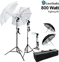 LimoStudio 800W Photography Photo Portrait Studio Umbrella Triple Continuous Lighting Kit - 2 x White Umbrella Lighitng, 1 x Table Top Mini Lighting Kit, AGG1210