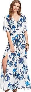 Milumia Women's Boho Split Tie-Waist Vintage Print Maxi Dress X-Small White-Blue