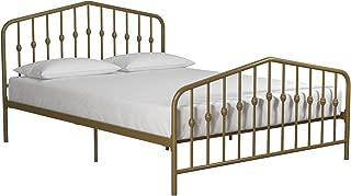 Novogratz Bushwick Metal Bed, Queen, Gold