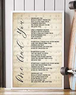 Mattata Decor Gift - Me and You Song Lyrics Sheet Music Portrait Poster Print (16