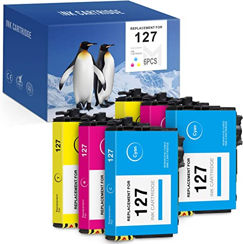 lowest MYIK Remanufactured Ink Cartridge Replacement for Epson 127 T127 for NX530 NX625 WF-3520 WF-3540 WF-7010 WF-7520 WF-3530 WF-7510 845 wholesale 545 645 (2 Cyan, 2 Magenta, 2 new arrival Yellow, 6 Pack) outlet sale