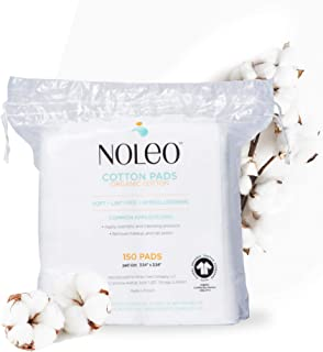 Sponsored Ad - NOLEO Pure Organic Cotton Pads for Face (150 Count) - Lint Free Large Biodegradable Hypoallergenic Makeup R...