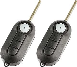 Flip Key fits Fiat 500 500L 2012 2013 2014 2015 Keyless Entry Remote (LTQF12AM433TX), Set of 2