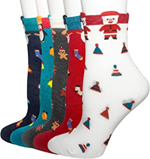Oureamod Cartoon Animal Womens Girls Cotton Crew Socks 5 Pack