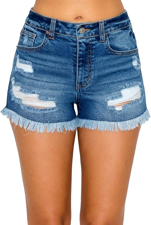 WAX JEAN Women's High Waist Destructed Denim Shorts