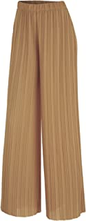 Women's Premium Pleated Maxi Wide Leg Palazzo Pants Gaucho- High Waist with Drawstring