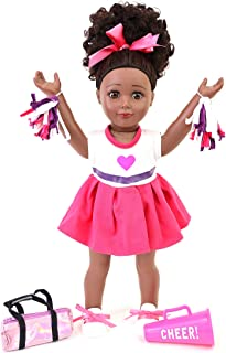 """Playtime by Eimmie Cheerleader Playtime Pack - Cheerleader Baby Doll Accessories Set - 18"""" Doll Clothes Including Dress, S..."""
