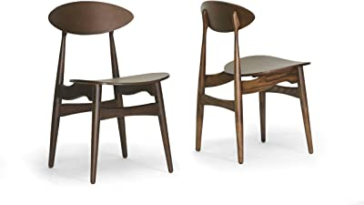 Baxton Studio Ophion Wood Modern Dining Chair, Brown, Set of 2