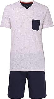 col V Gris//Bleu Tom Tailor Ensemble Pyjama Homme Court uni imprim/é Motif