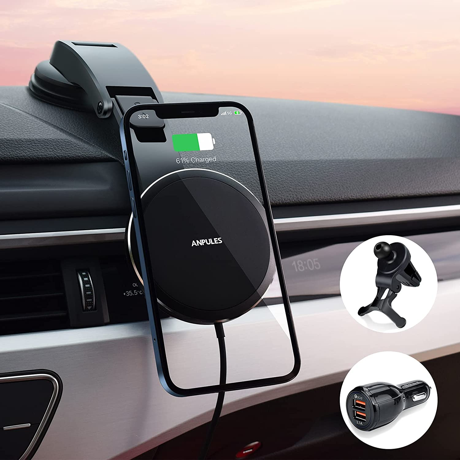 ANPULES Magnetic Wireless Car Charger, Auto-Alignment Car Phone Mount Air Vent Dashboard Holder, Fast Wireless Charging Stand Only Compatible with iPhone13 &iPhone 12 Series(with QC 3.0 Car Adapter)