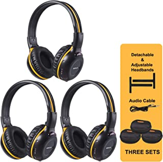 SIMOLIO 3 Pack of Wireless Car Headphones with Carrying Cases, IR Wireless Headphones for Kids, Car DVD Headphones with AUX Cord, Share Port, 2 Channel IR Headsets, Not Work on 2017+ GM`s or Pacifica