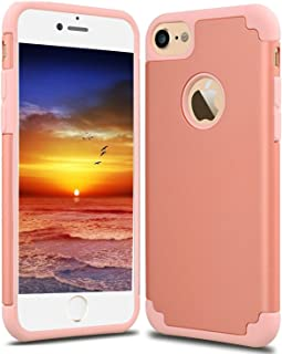 CaseHQ iPhone 7 Case, iPhone 8 Case,slim Dual Layer Silicone Rubber PC Protective Case Fit for iPhone 7 (4.7 screen),iPhone 8 (4.7 screen) Hybrid Hard Back Cover and Soft Silicone-Rose Gold gray
