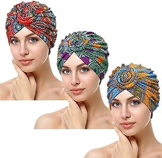 ASHILISIA 3 Pieces African Pattern Knot Headwrap, Pre-Tied Bonnet Turban Beanie Cap for Women