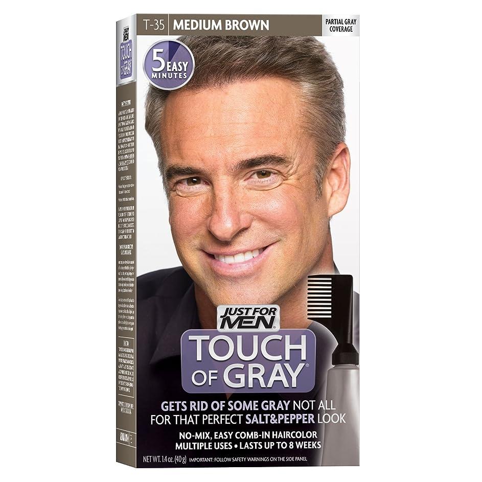 ステップ違反本質的ではないJust for Men グレーヘアカラーT-35ミディアムブラウンの感触、1個(2パック) 2パック