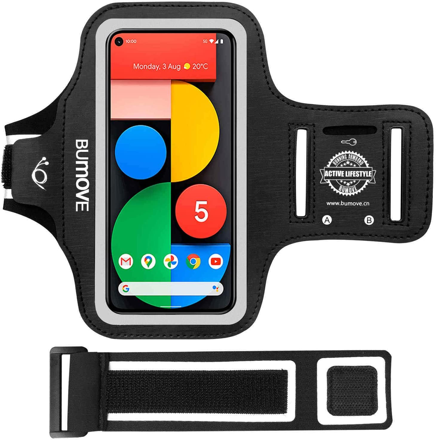 Pixel 5a/5/4a/4/3 Armband, BUMOVE Gym Running Workouts Sports Phone Arm Band for Google Pixel 5a, 5, 4a, 4, 3a, 3, 2 with Key/Card Holder (Black)