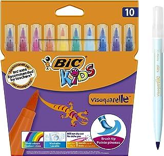 BIC Kids Visaquarelle Feutres de Coloriage avec Pointe Pinceau - Couleurs Assorties, Etui Carton de 10
