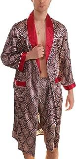 Men's Satin Pajama Set Silk Robe Boxer Underwear Long Sleeves Pockets Loungewear Kit
