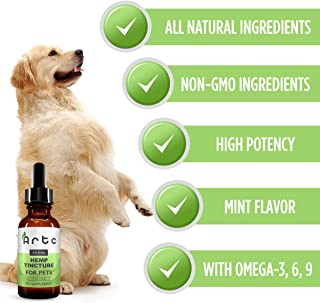 Hemp Oil for Dogs & Cats 250 mg | Natural Pet Supplement, Rich in Omega 3, 6, 9 | Helps with Stress, Pain Relief, Inflammation, Anxiety and Sleep | Promotes Bone and Hip Joint Health, Cool Mint Flavor