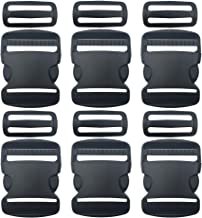 "6 Set 2 Inch Flat Dual Adjustable Plastic Quick Side Release Plastic Buckles and Tri-Glide Slides for Luggage Straps Pet Collar Backpack Repairing (Black, Fit for 2""/50mm Webbing Straps)"