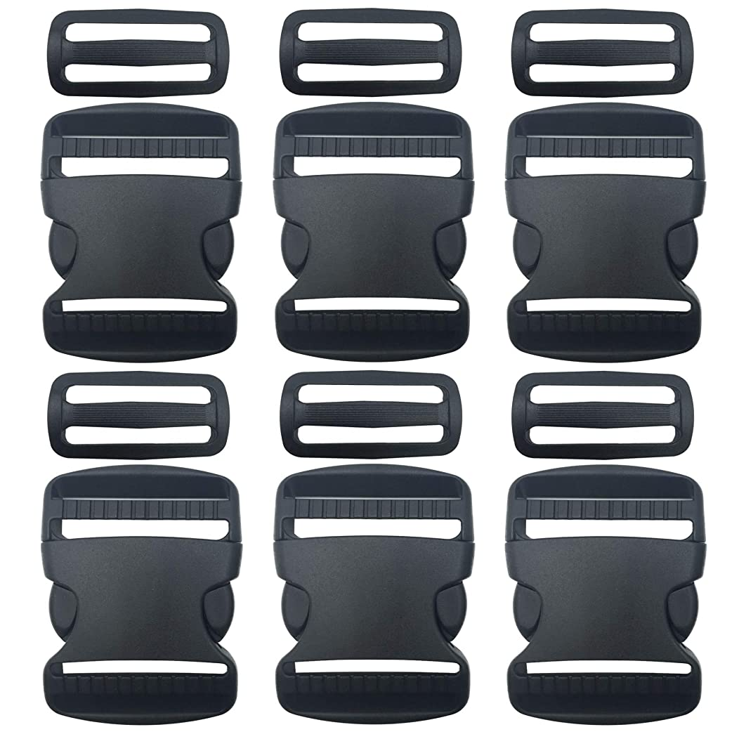 6 Set 2 Inch Flat Dual Adjustable Plastic Side Release Plastic Buckles and Tri-Glide Slides Quick Side Release Buckle for Luggage Straps Pet Collar Backpack Repairing (Black)
