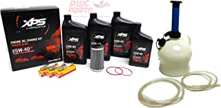 SeaDoo ACE 1630 300HP RXT-X RXP-X GTX 300 Oil Change Maintenance Kit with NGK KR9E-G Spark Plug Set & PWCParts 4L Oil Extractor Pump