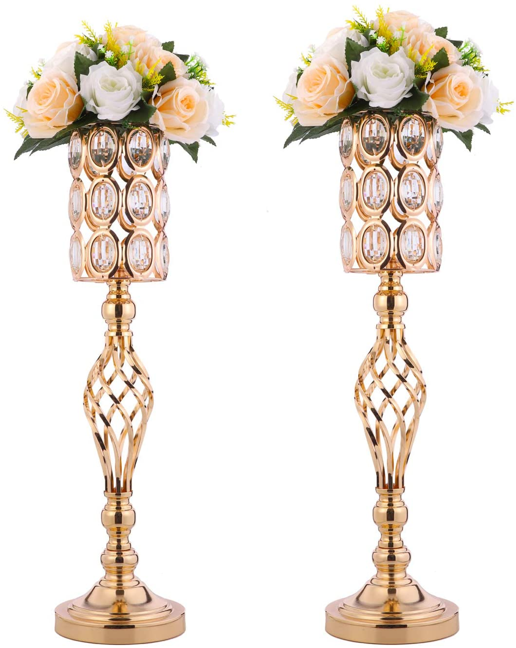 2pcs Metal Wedding Flower Trumpet with Crystal Vase Bead It is very popular High quality new Table