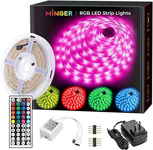 MINGER LED Strip Lights 16.4ft, RGB Color Changing LED Lights for Home, Kitchen, Room, Bedroom, Dorm Room, Bar, with ...