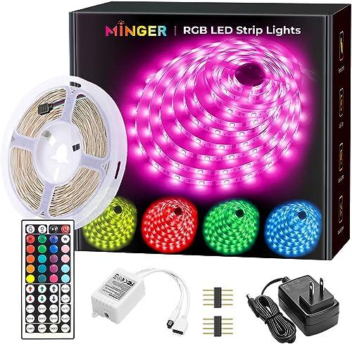 MINGER LED Strip Lights 16.4ft, RGB Color Changing LED Lights for Home, Kitchen, Room, Bedroom, Dorm Room, Bar, with ...