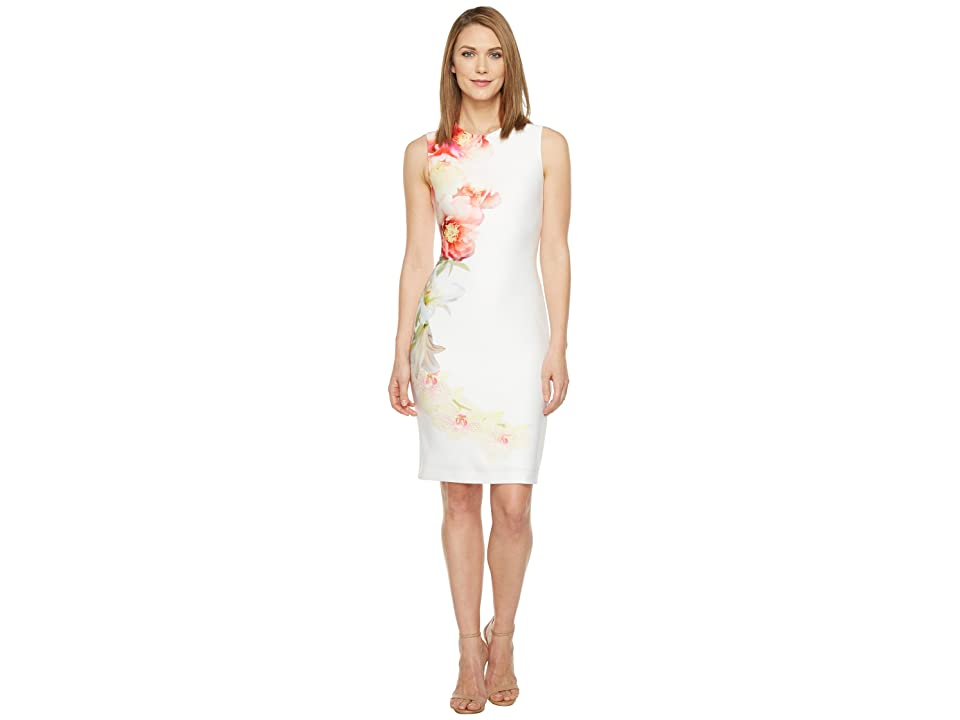 Calvin Klein Placed Floral Print Sheath Dress (Blossom Multi) Women