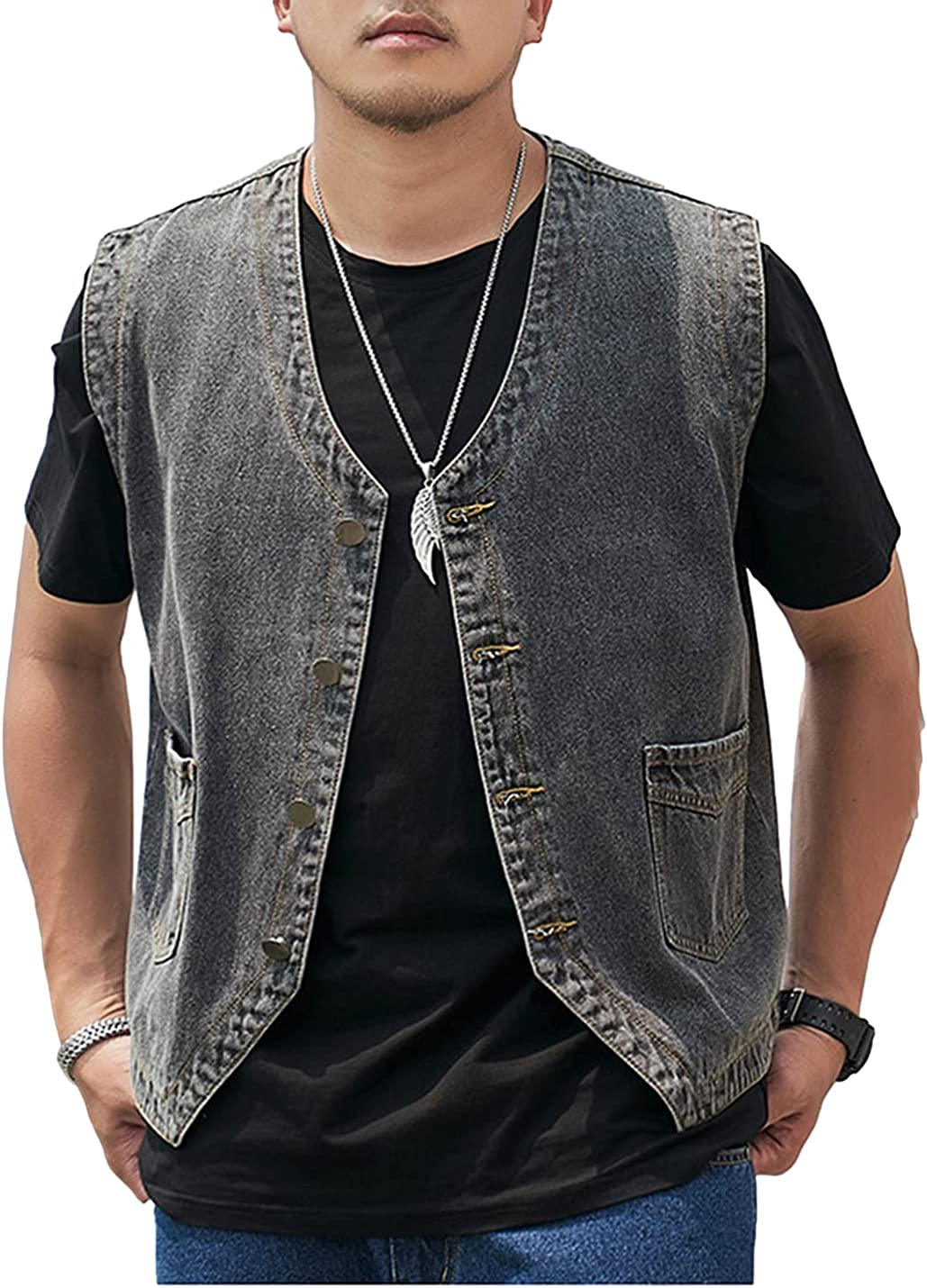 Omoone Mens Casual Denim Vest Sleeveless Jean Vests Jacket Button Down Jeans Vest