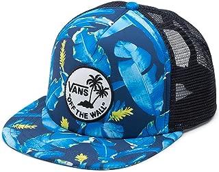 Wall Men's Surf Patch Trucker Hat Cap - Dress Blues Bonsai Leaf