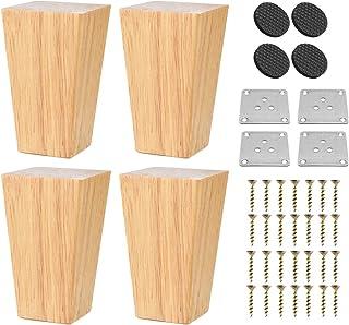 Patas de madera maciza para muebles de 4 pulgadas 4 unidades diseño cuadrado de pirámide de madera moderna de mediados d...