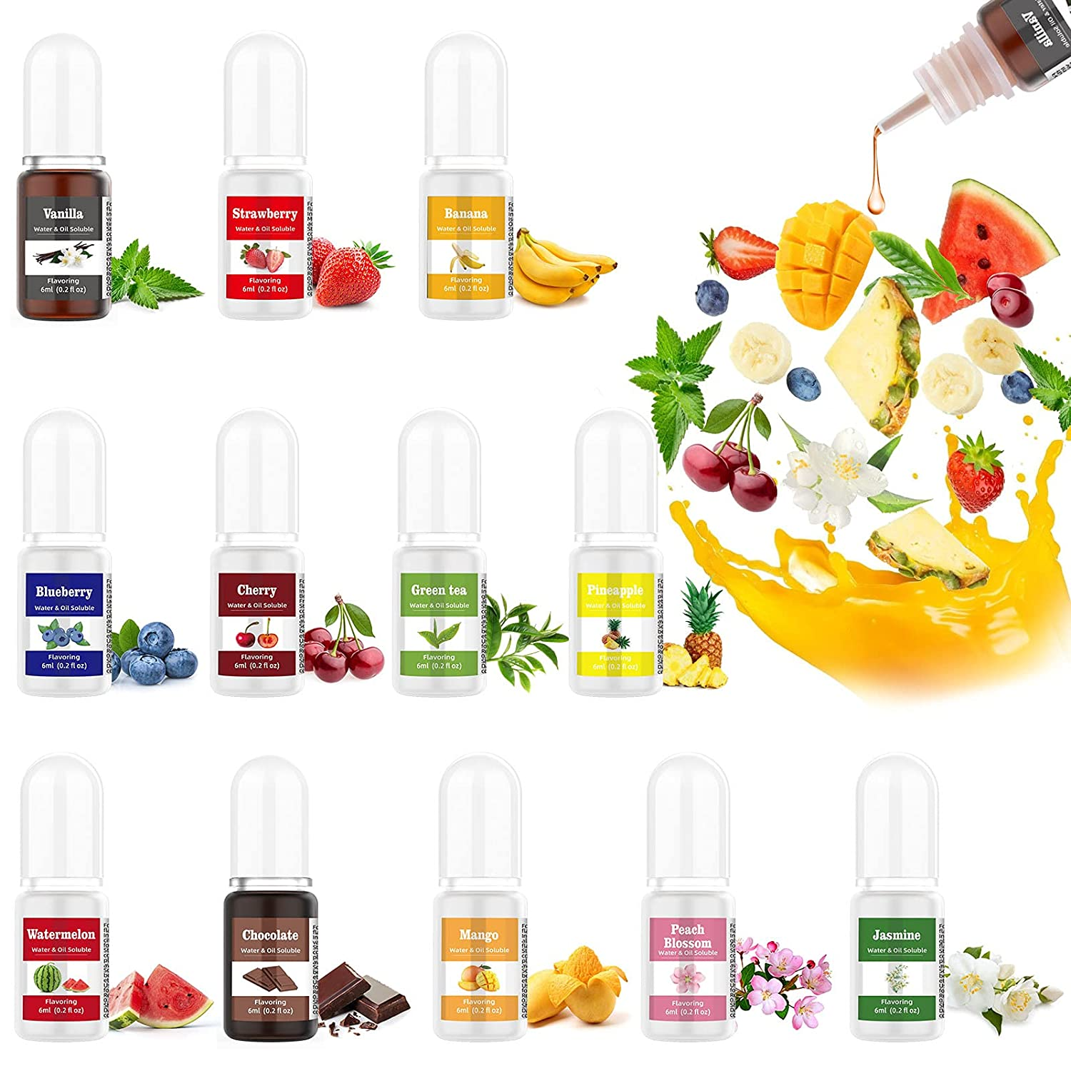 Food Flavoring Oil for Lip Gloss Candy Making, 12 Pack Lip Gloss Flavoring Oil, Green Tea Vanilla Banana Strawberry Flavor Extracts for Baking Lip Gloss Balm, Water & Oil Soluble - .2 Fl Oz / 6 ml